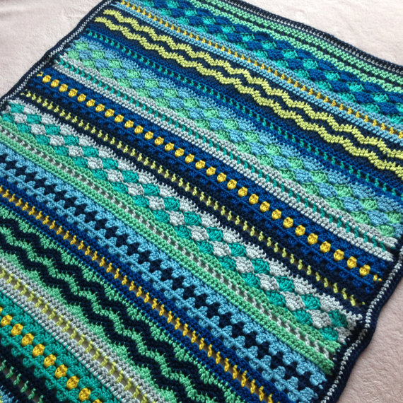 Photo of Crochet Baby Blanket Pattern / Tutorial: Baby Blues Blanket Crochet Pattern, Mixed Stitch Blanket, Baby Boy, Baby Girl – Instant Download