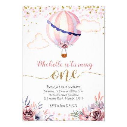 Gold Pink Hot Air Balloon Girl First Birthday Invitation | Zazzle.com