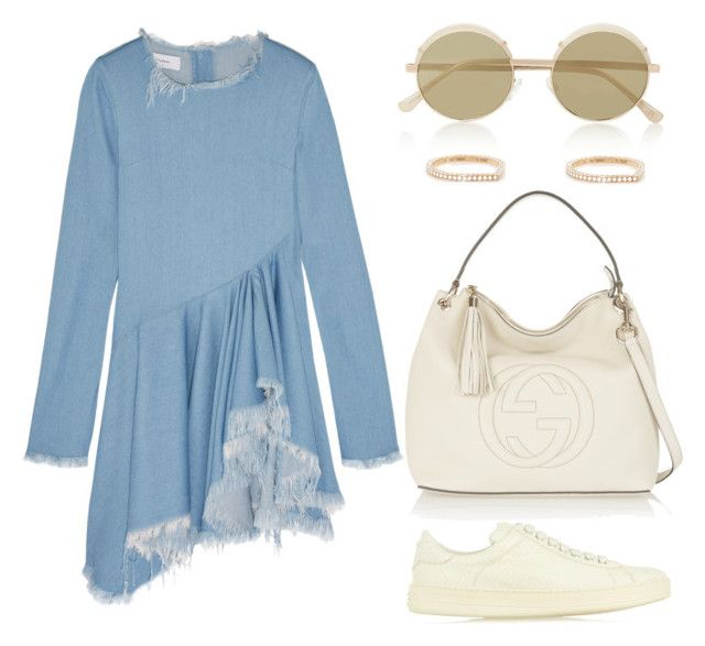 """Untitled #295"" by kholli-1 ❤ liked on Polyvore featuring Marques'Almeida, Gucci, Tom Ford, Le Specs and Repossi"