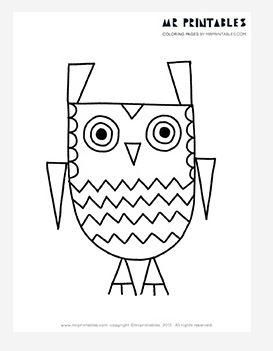 zigzag the owl coloring page - Owl Color Page