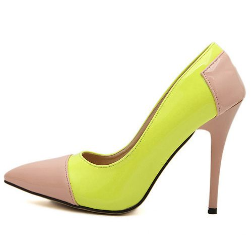 Fashion Pointed Closed Toe Patchwork Stiletto Super High Heels Yellow PU Basic Pumps_Pumps_Womens Shoes_Cheap Clothes,Cheap Shoes Online,Wholesale Shoes,Clothing On lovelywholesale.com - LovelyWholesale.com