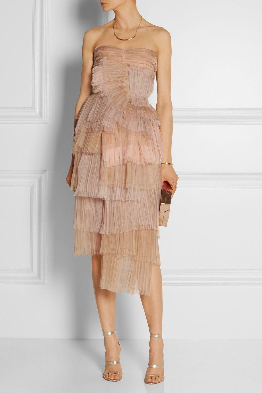 Blush Tiered silk-organza dress  Burberry  Organza dress