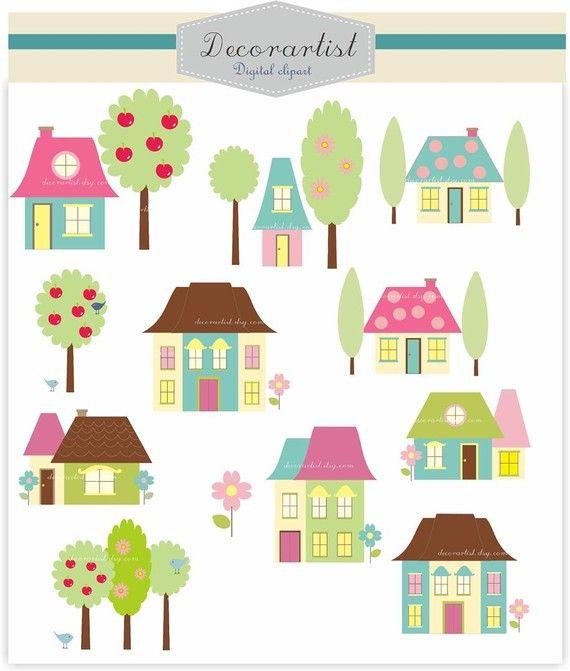House clipart , Digital clipart, house village clipart ...