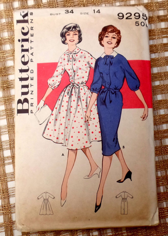 Vintage Pattern 1950s 1960 Butterick 9295 Bust 34 Dress Rockabilly ...