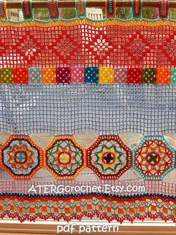 Crochet Pattern Boho Curtainvalance By Atergcrochet Vorhang