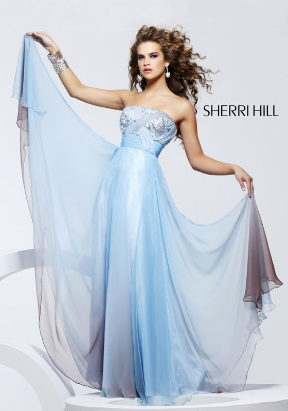 Sheer hombre' chiffon in whisper soft blue with just a hint of brown.