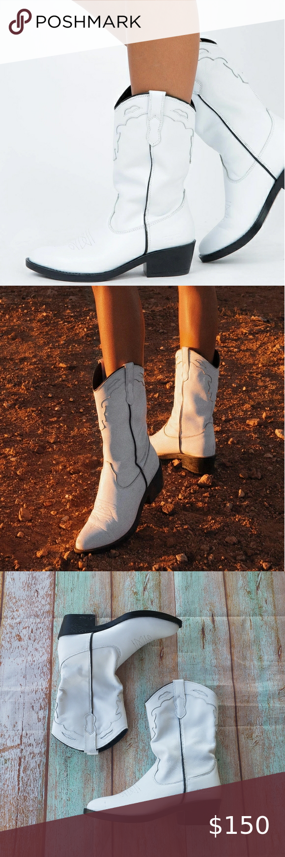 Princess Polly White Indigo Leather Cowboh Boots 7 in 2020