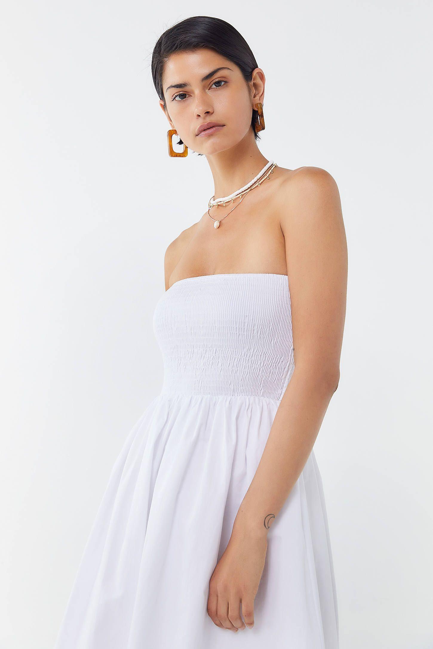 Uo Sienna Smocked Strapless Midi Dress Urban Outfitters Dresses Strapless Midi Dress Urban Dresses [ 2175 x 1450 Pixel ]