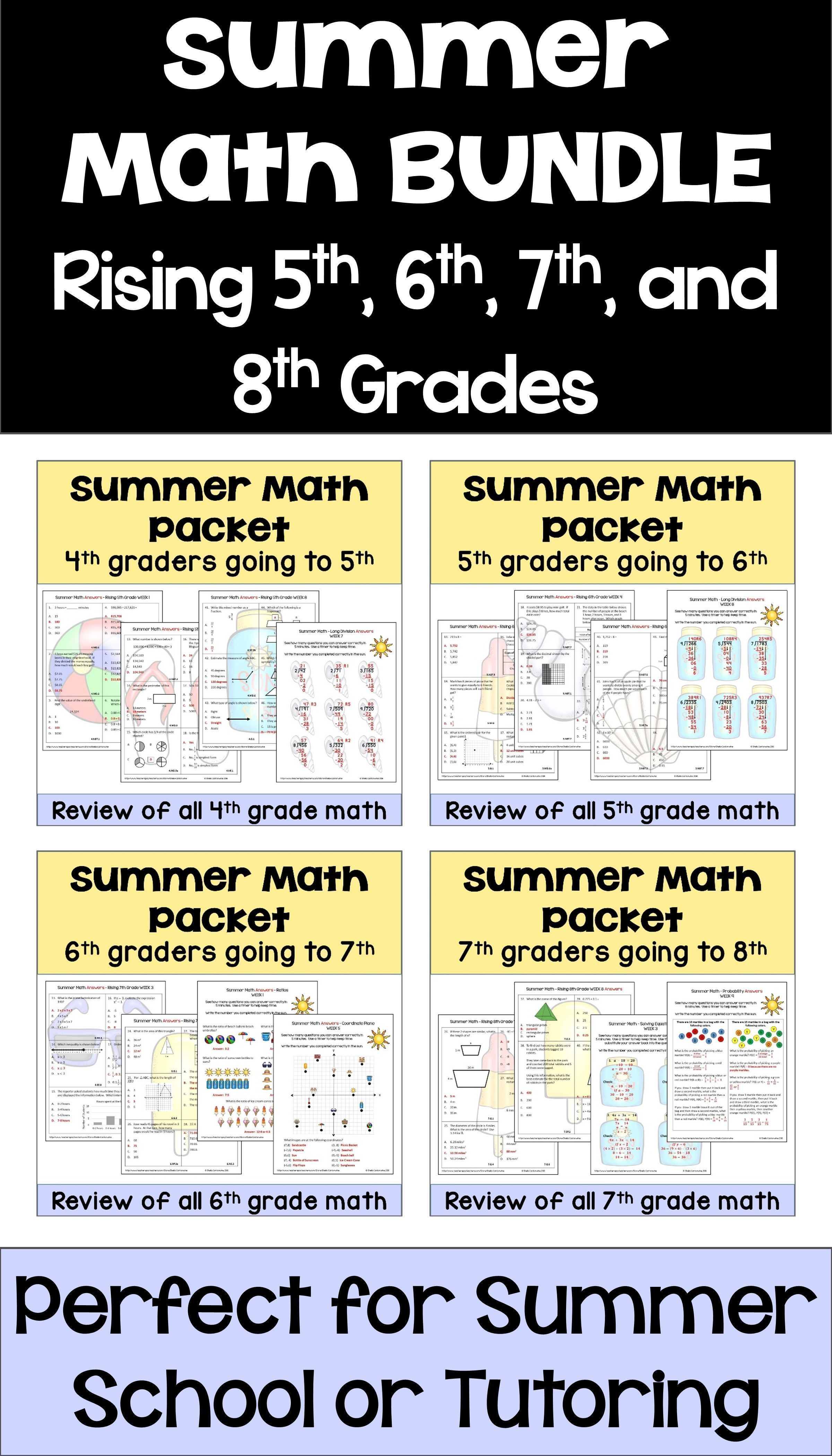 Summer Math Packet Bundle For Rising 4th 5th 6th 7th