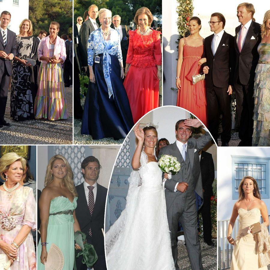 Reines, princes et princesses au mariage de Nikolaos et Tatiana, il y a 10 ans