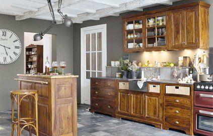 Quelle Couleur Avec Des Meubles Rustiques Dans Une Cuisine - Repeindre meuble cuisine rustique pour idees de deco de cuisine