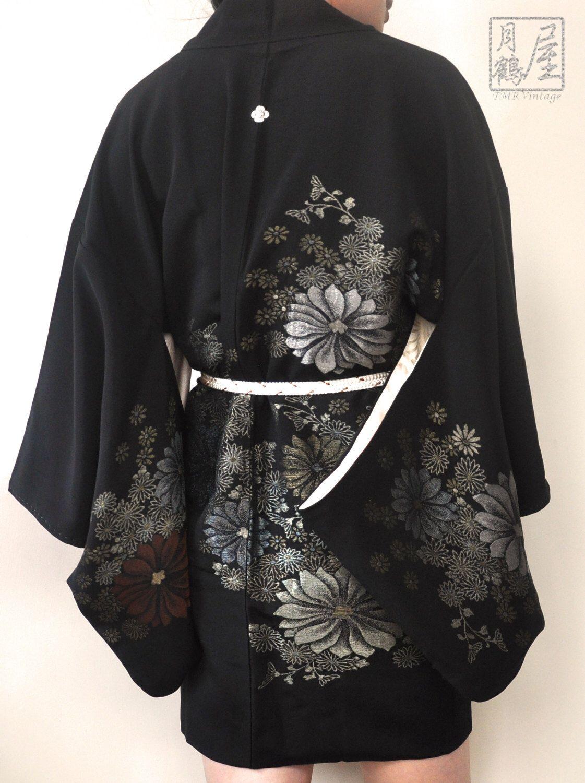 Japanese Kimono Haori Yukata Sakura Deep Sea Unisex Summer Jacket Loose Sundress