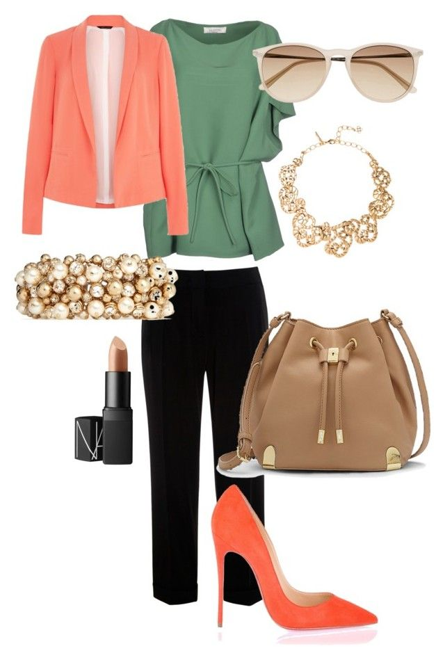"""""""SPRING FLARE"""" by arianahorne ❤ liked on Polyvore featuring Weekend Max Mara, Valentino, Christian Louboutin, Witchery, NARS Cosmetics, Oscar de la Renta and Vince Camuto"""