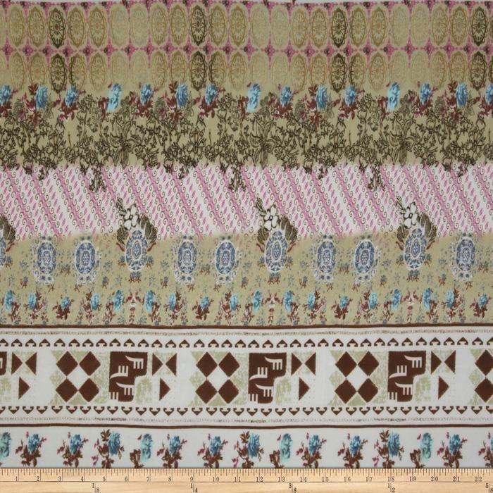 Designer Chiffon Abstract Sage/Pink - Discount Designer Fabric - Fabric.com