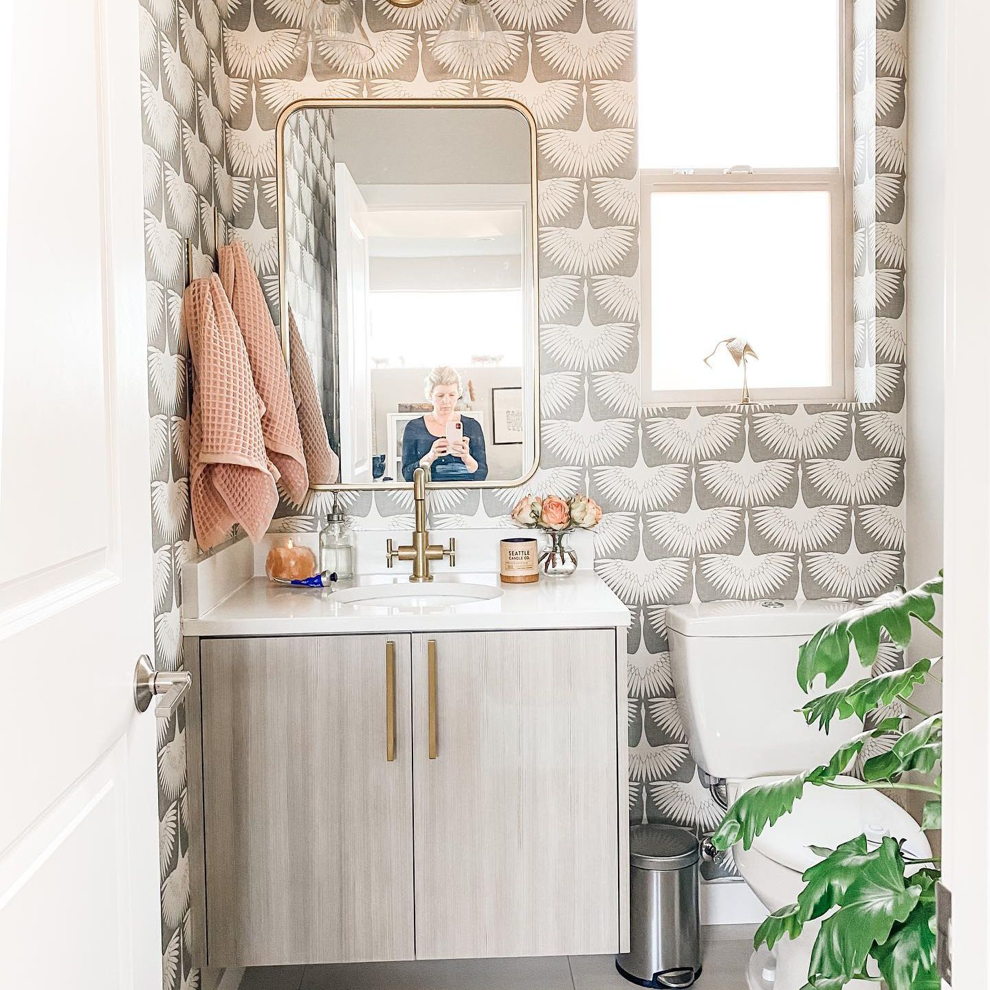Bathroom Remodel Before And After Removable Wallpaper Small Bathroom Remodel Flock Wallpaper