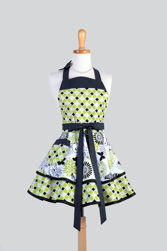 Lime Green Retro Vintage 50/'s Pin Up Kitchen Apron  Made to Order