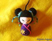 Kokeshi amigurumi - portachiavi - keychain China Giappone Cina Japan bambolina doll