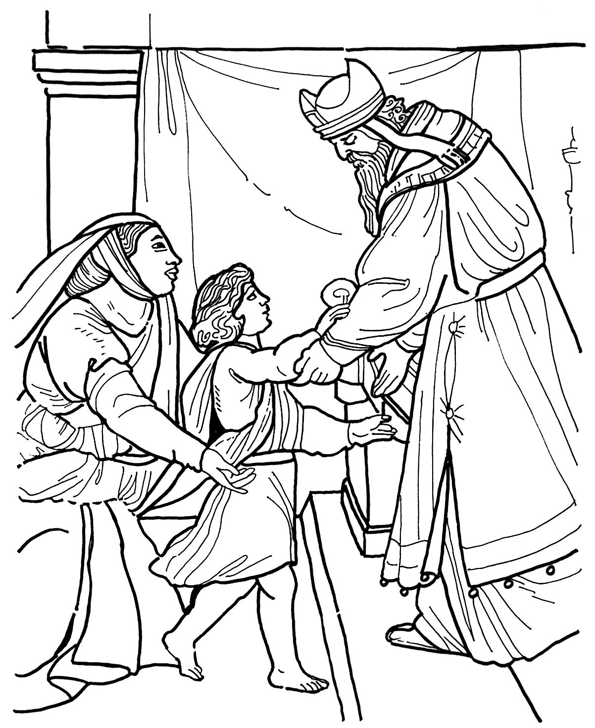 hannah dedicates samuel to the temple bible coloring page bible