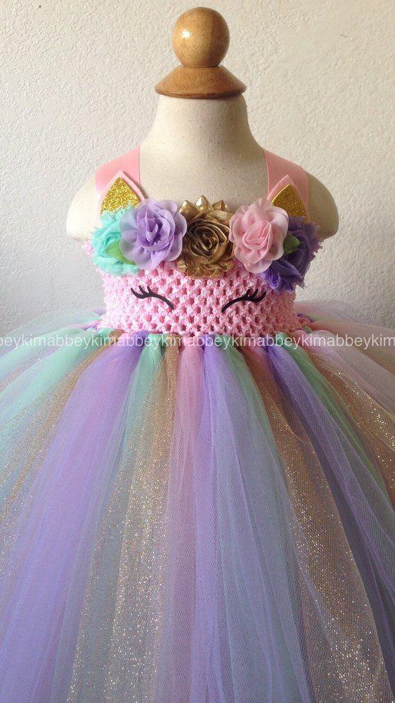 706fa69ff1114 Beautiful baby girl first birthday unicorn theme tutu dress for baby ...