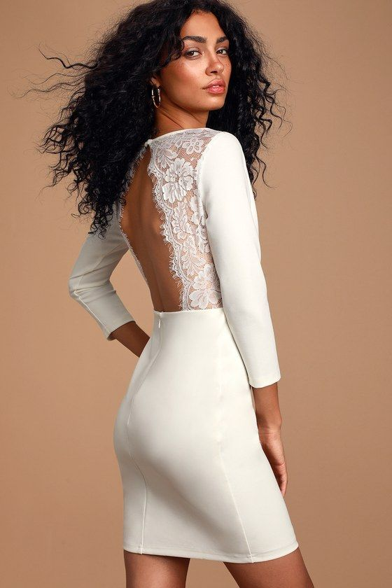 Lulus | Love Language White Lace Bodycon Backless Dress | Size X-Small | 100% Polyester #shortbacklessdress