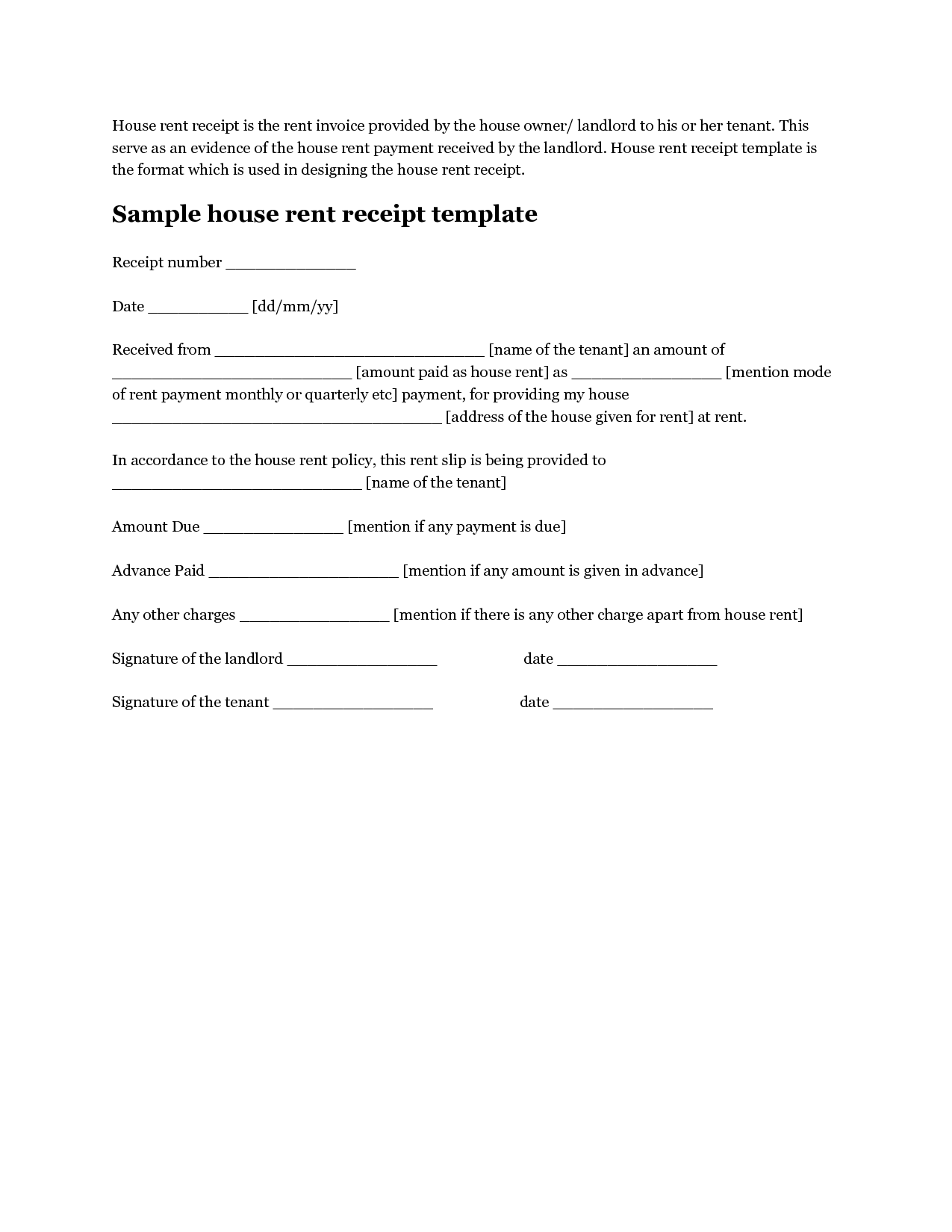 Free House Rental Invoice  Download House Rent Receipt Template