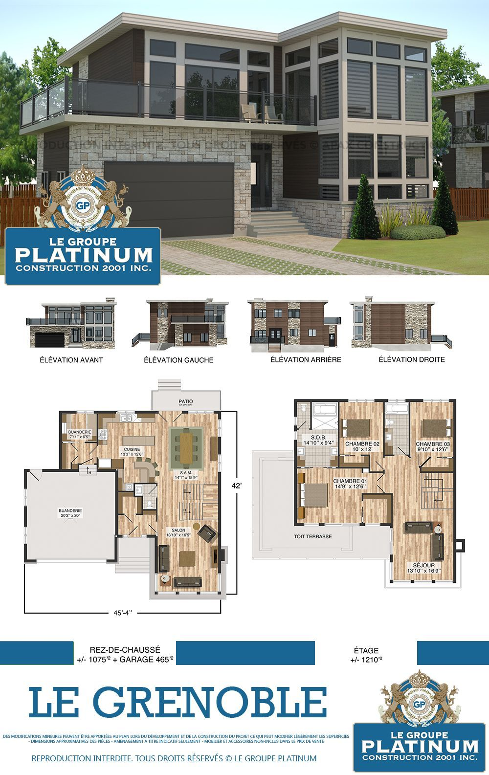 Modèle de maison neuve le grenoble le groupe platinum construction de maisons et condos neufs