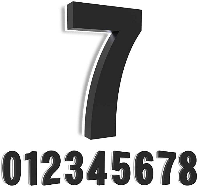Homlux 5 Inch Led House Number 12v Modern Backlit Led Address Stainless Steel Floating Numbers With Black Coating Led House Numbers Led House House Numbers