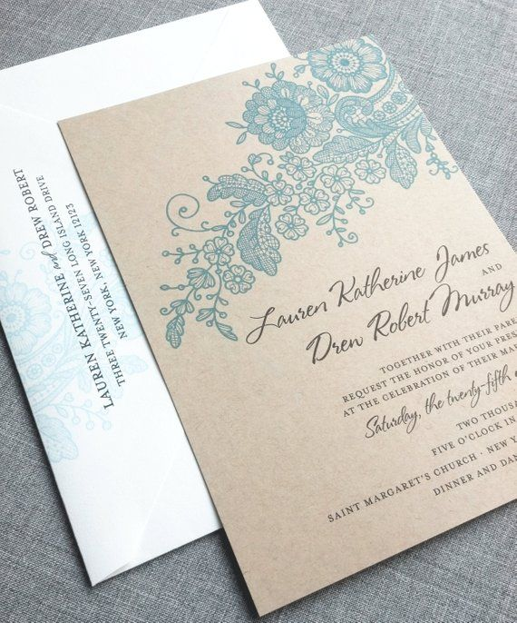 Lauren Kraft Lace Wedding Invitation Sample – Recycled Rustic Card Stock – Green, Charcoal, Teal or Navy Lace