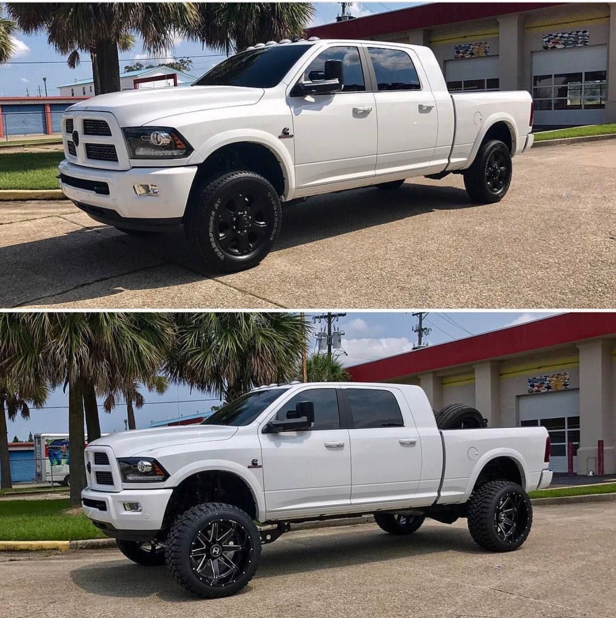 before and after white lifted ram 2500 mega cab