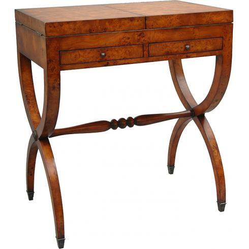 Ladies Dresser Vanity With Mirror | Dark walnut and burl veneer ladies vanity dresser with mirror ...