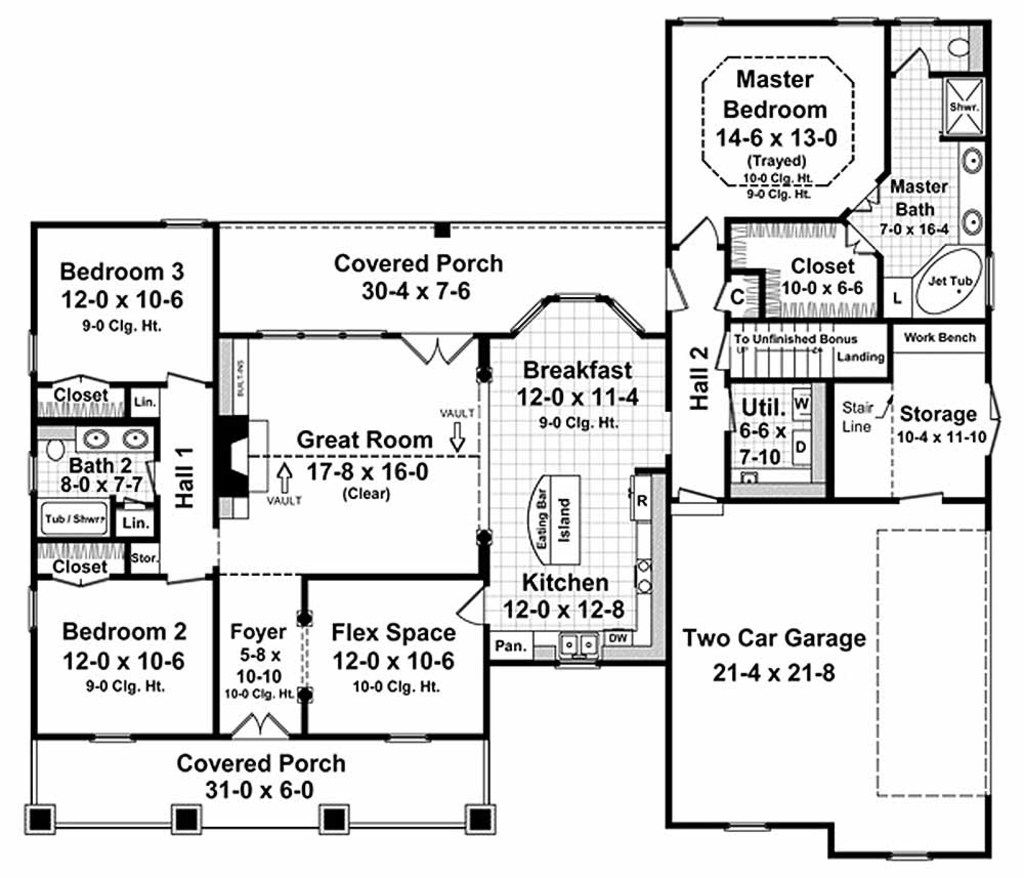 Country Style House Plan 3 Beds 2 Baths 1800 Sq Ft Plan 21 190 Bungalow Style House Plans Craftsman Style House Plans House Plan Gallery
