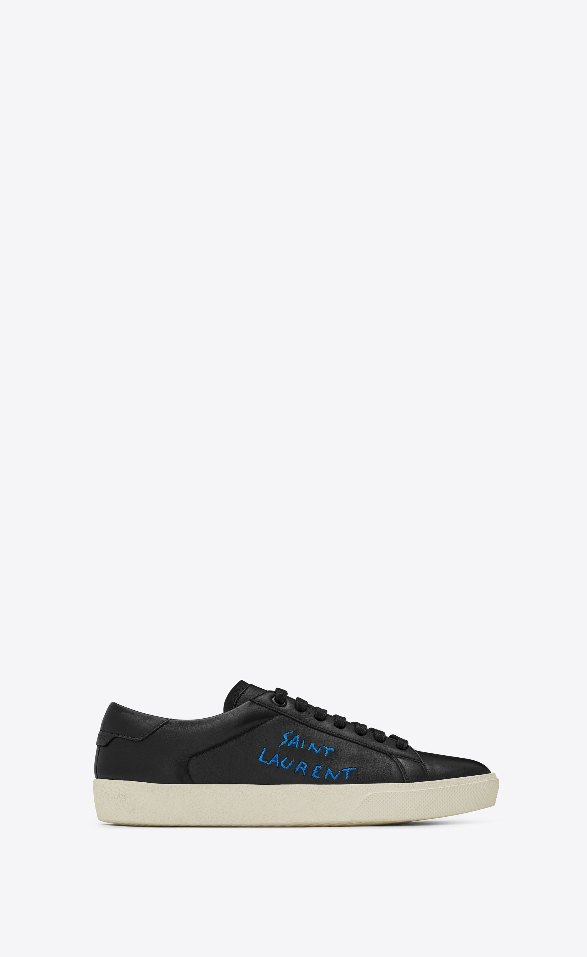 8bb1792e8040 Saint Laurent COURT CLASSIC SL 06 Sneaker In Black Leather And Metallic  Blue Embroidery