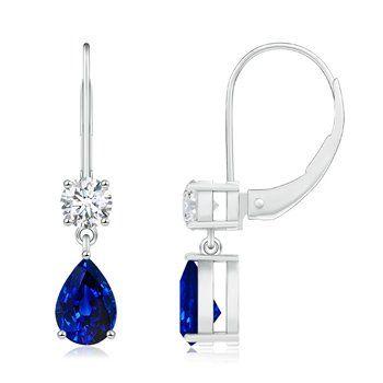 Angara Square and Pear Blue Sapphire Drop Earrings with Diamond Ke4PqB