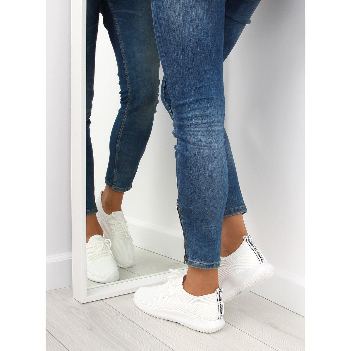 Sportowe Damskie Obuwiedamskie Buty Sportowe Biale Bk 91 White Obuwie Damskie Trainers Women Sneakers Skinny Jeans