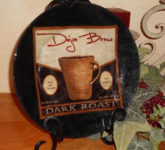 Coffee Decorative Plate Glass Coffee Decoupage by CraftyCatPlates $20.00 & Coffee Decorative Plate Glass Coffee Decoupage by CraftyCatPlates ...