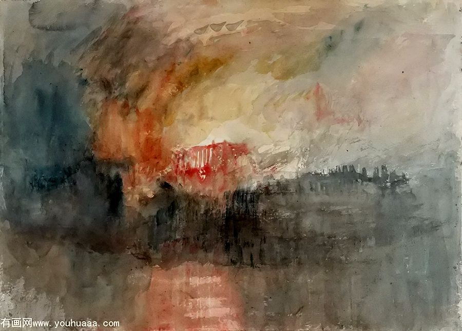 Turner Aquarelle L Incendie Du Parlement William Turner