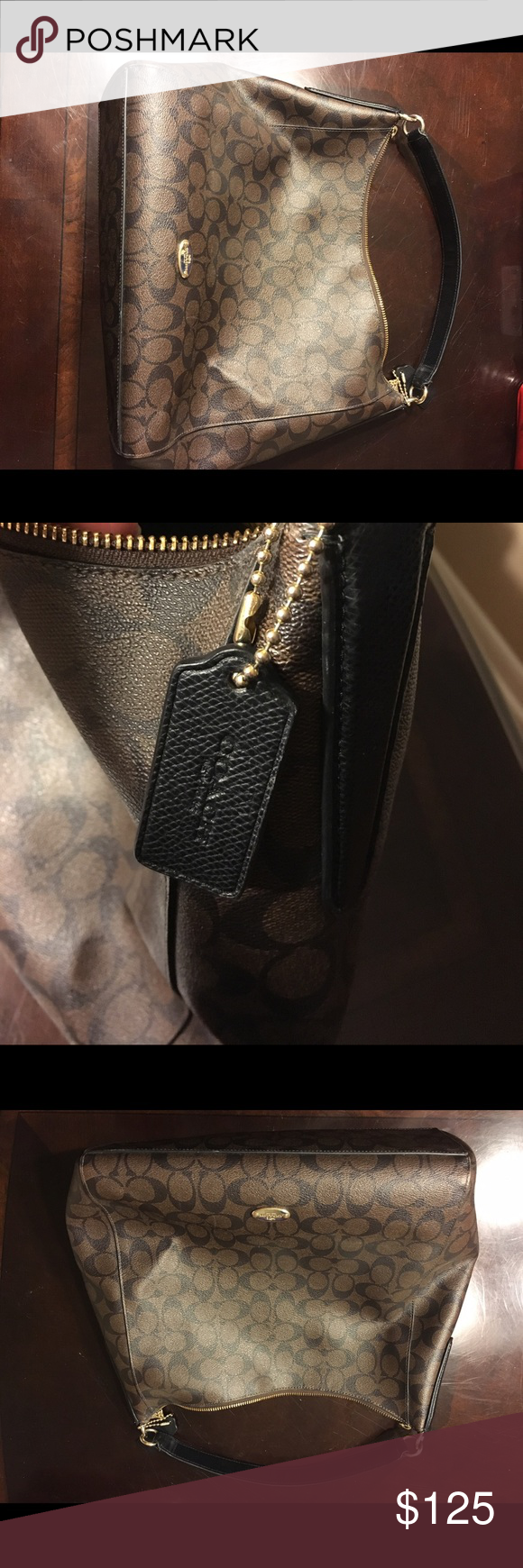 Coach Handbag Brown & Gold Coach bag with strap! Like New! Used less then a month! Coach Bags Hobos