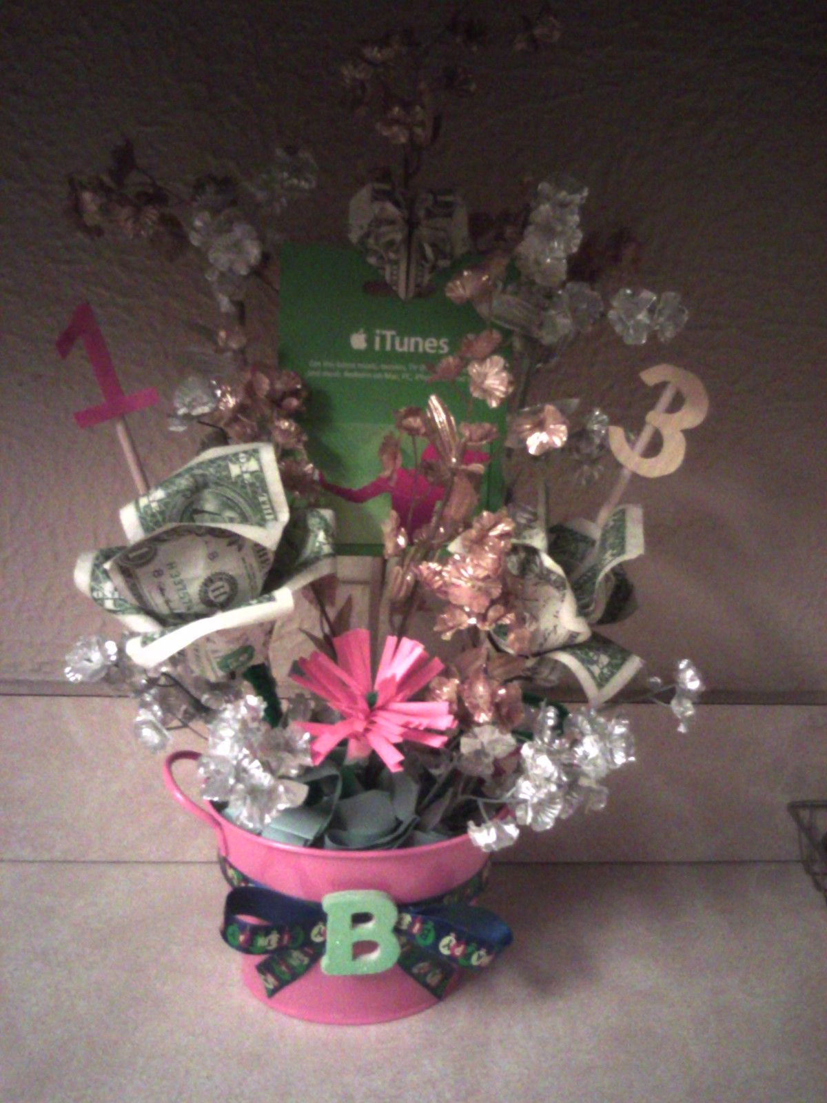 Used a variety of things I found on pinterest to create a b-day basket for my daughter's 13th birthday!