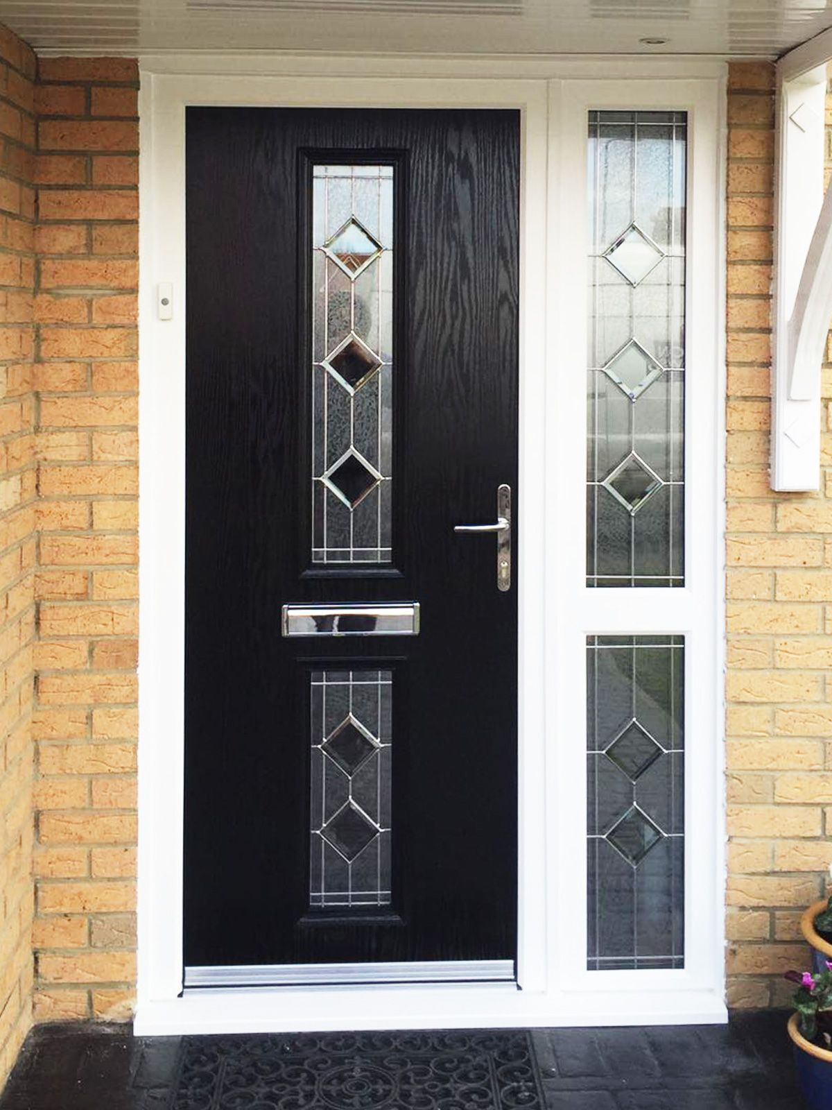 Modern front doors black - Modern And Unique Bloomberg C Design Composite Door In Black With Simplicity Glass Design