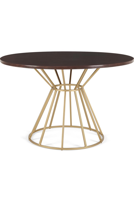 Made Com Ensemble Table Et 4 Chaises Laiton Bois Fonce Table A Manger Noyer Bois Decoration Noir