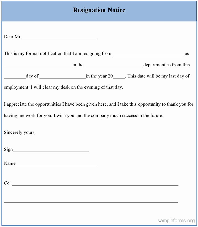 2 Week Notice form Fresh Resignation Notice form Sample