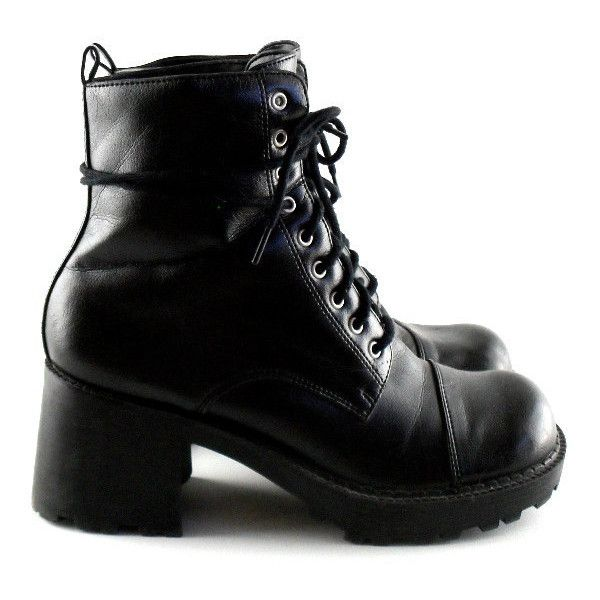 328030ac1f3c6 90s Combat Boots 7 Vegan Heeled 90s Boots Chunky 90s Black Boots ...