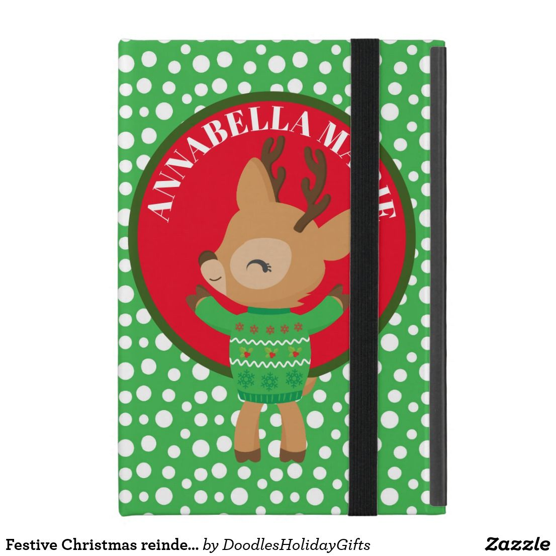 Festive christmas reindeer holiday add name case for ipad