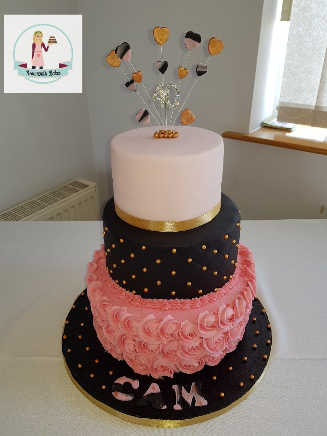 A Black Gold And Pink 40th Birthday Cake Lemon Tier Top Middle
