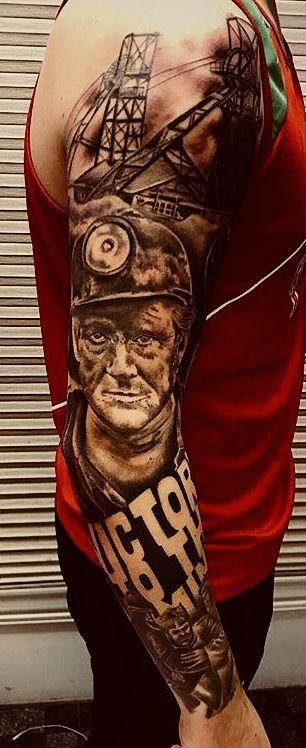 Welsh miner sleeve tattoo by Maria Fleet #grandfathertattoo