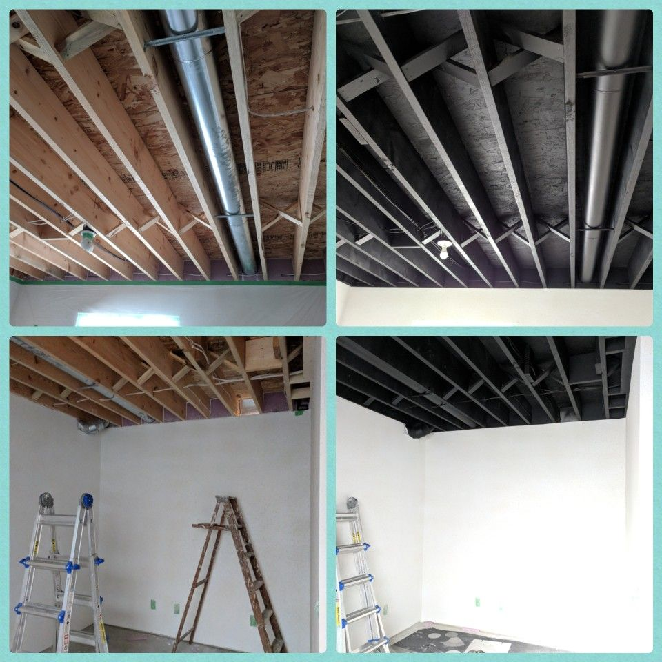 Ceiling Sprayed Painted Black: Unfinished Basement Ceiling, Painted Black. So Easy To Do