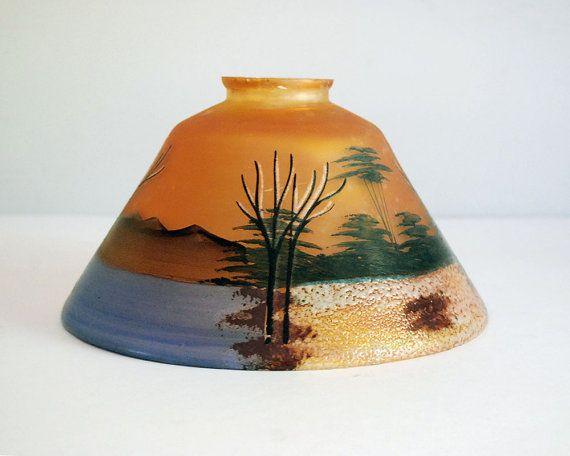 Glass lamp shade art nouveau lamp shade orange art glass glass lamp shade art nouveau lamp shade orange art glass iridescent glass aloadofball Images