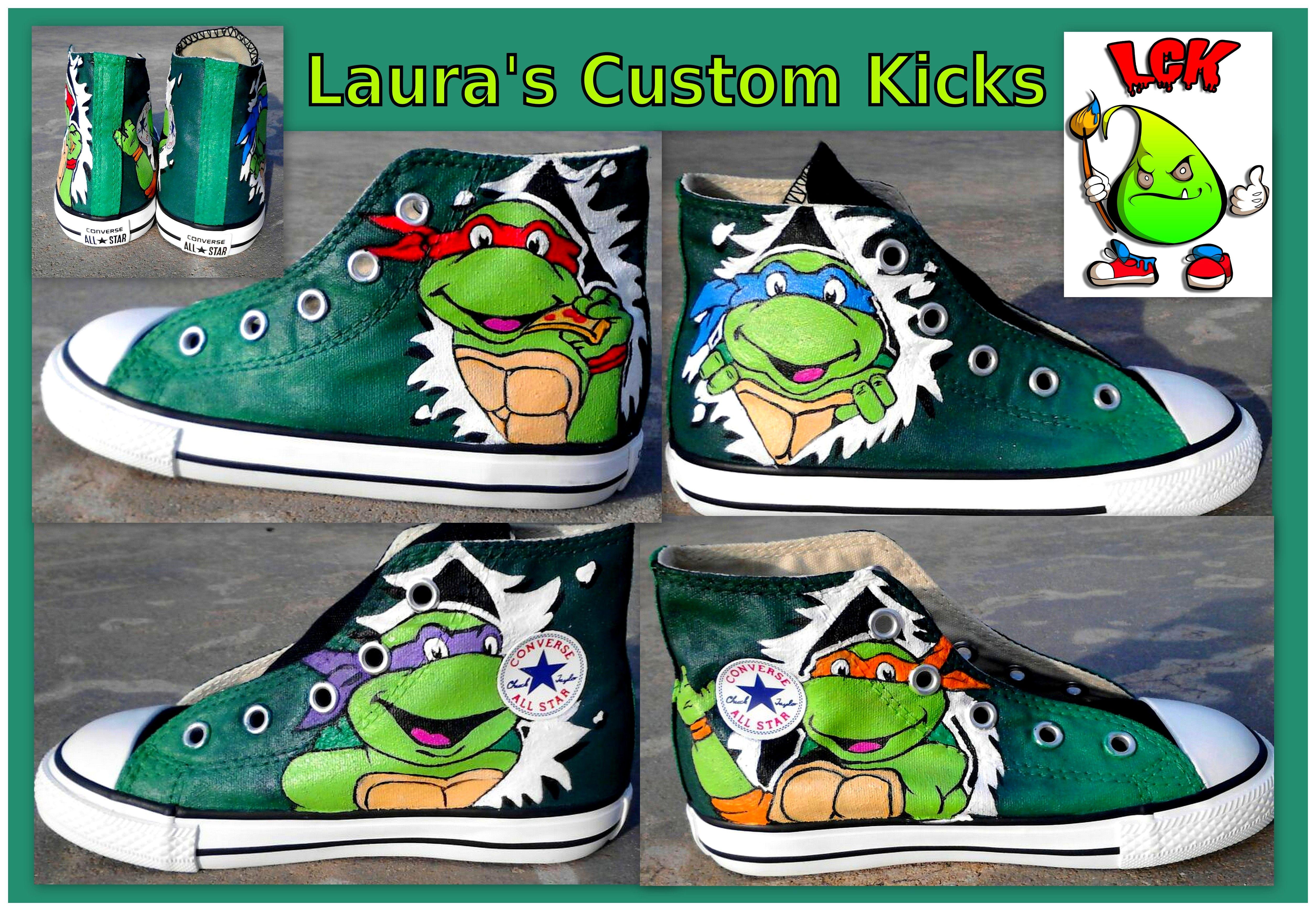 a24115c7215a Custom Teenage Mutant Ninja Turtle TMNT shoes hand painted with Leonardo