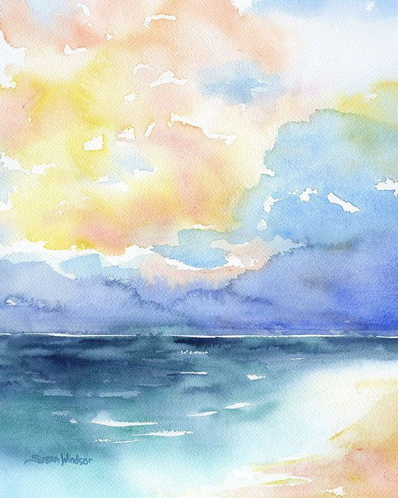 Abstract Watercolor Painting Colorful Sea Ocean Beach