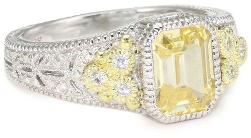"Judith Ripka ""Estate"" Small Estate Yellow Ring, Size 6 ..."